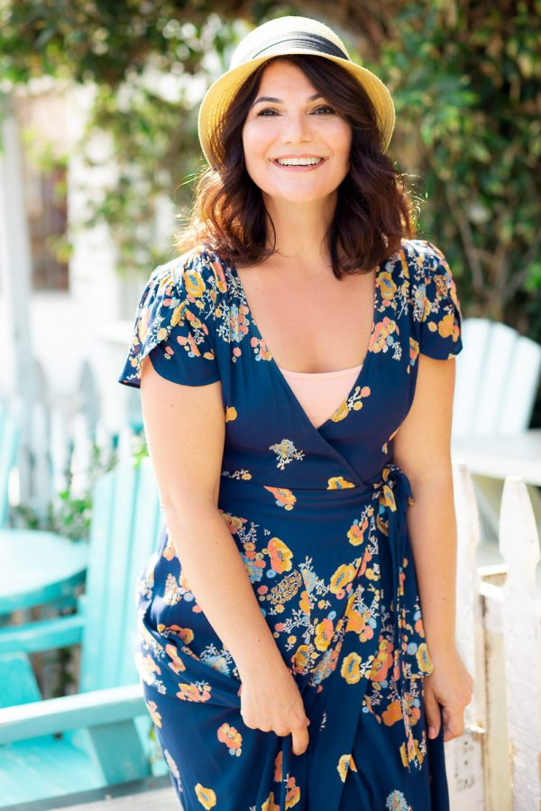 Actress Cindy Chavez posed in Los Angeles garden in blue dress