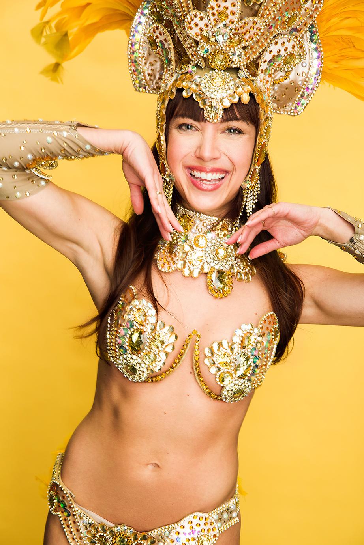 Portrait of Samba dancer dancing in studio